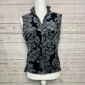 Charter Club Quilted Velvet Vest Black Gray Small